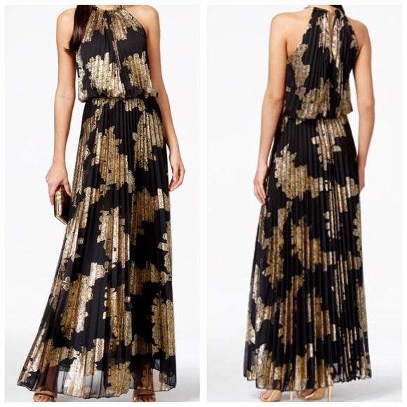 MSK Dresses | Greek Gold Metallic Pleated Blouson Gown | Poshmark